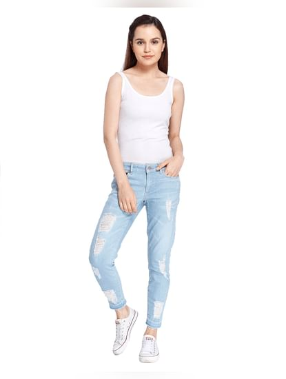 Light Blue Distressed Ankle Length Regular Jeans