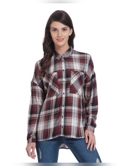 Black High Low Check Shirt