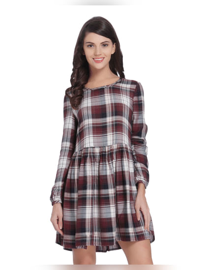 Black & Red Check Mini Dress