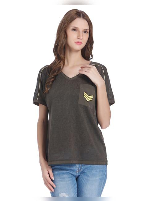 Olive Badge Print V-Neck Top