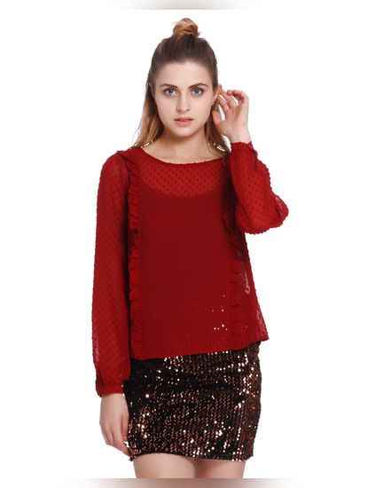 Red Dobby Print Frill Detail Top