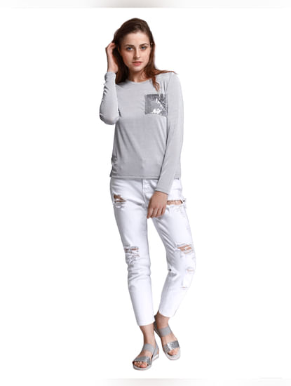 Grey Sequined Pocket T-Shirt