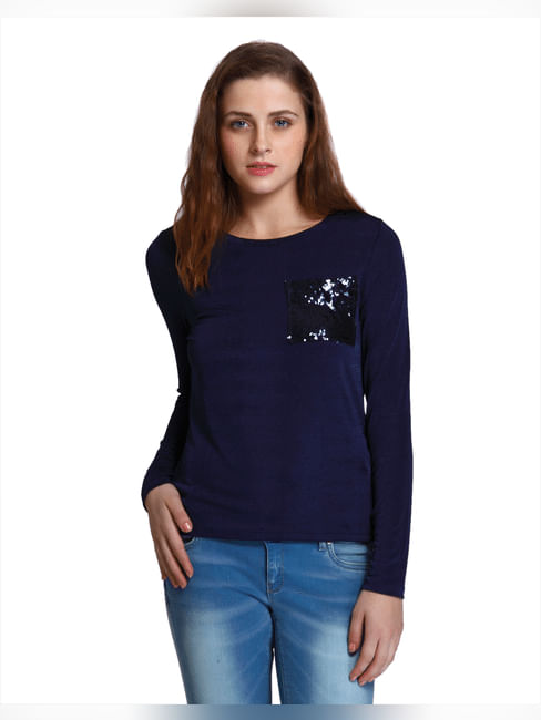 Blue Sequined Pocket Detail T-Shirt