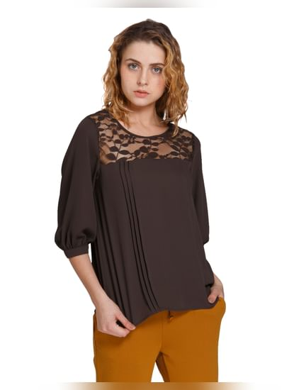 Brown Mesh Detail Top
