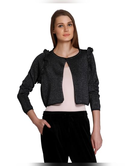 Black Shimmer Short Cardigan