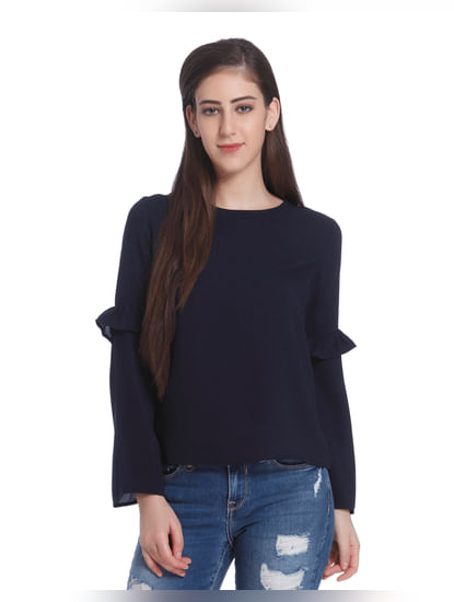 Dark Blue Bell Sleeves Top