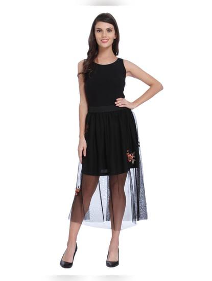 Black Sheer Floral Midi Skirt