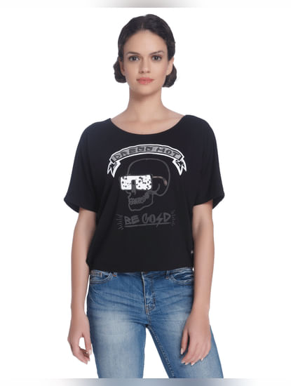 Black Skull Print T-Shirt