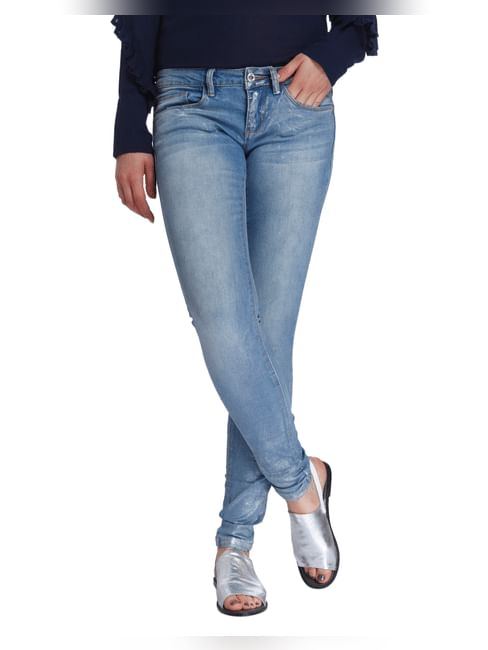 Light Blue Shiny Low Rise Slim Fit Jeans