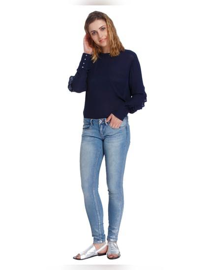 Light Blue Shiny Low Rise Slim Fit Jeans