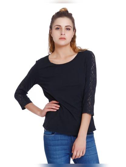 Dark Blue Lace Insert Sleeves T-Shirt