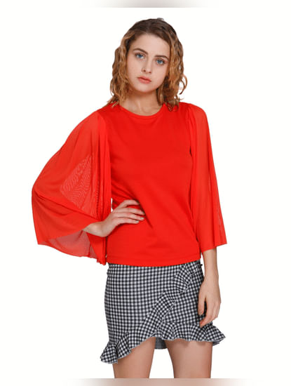 Red Flared Sleeves Top