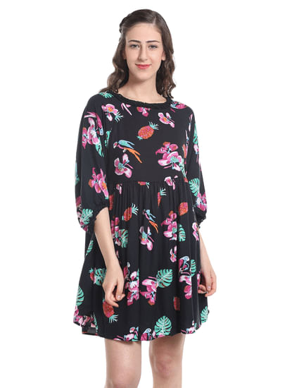 Tropical Print Black Mini Dress