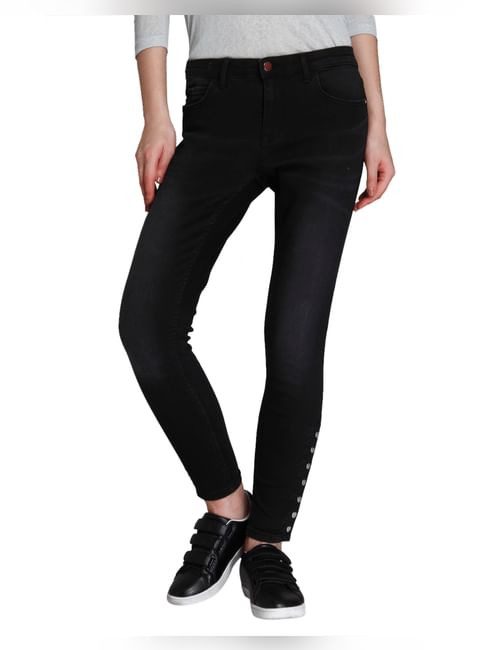 Grey Button Detail Regular Waist Skinny Fit Jeans