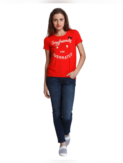 Bright Red Slogan Print T-Shirt