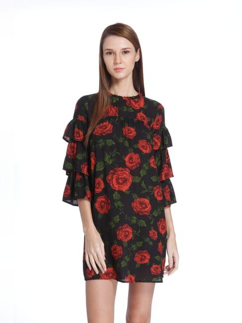 Black Rose Print Mini Dress