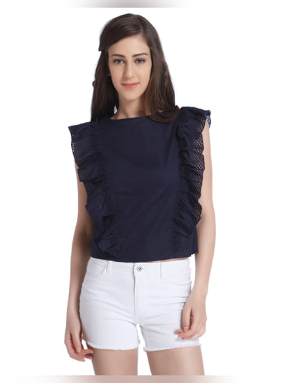 Dark Blue Top With Frill Detail