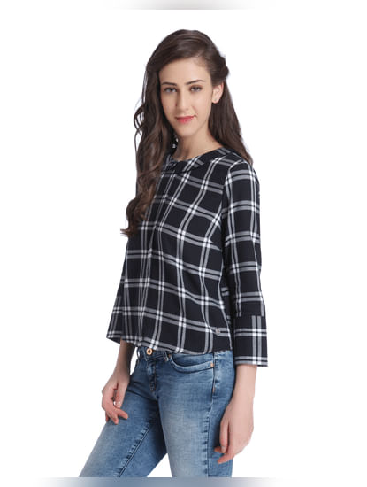 Black Buffalo Check Open Back Shirt