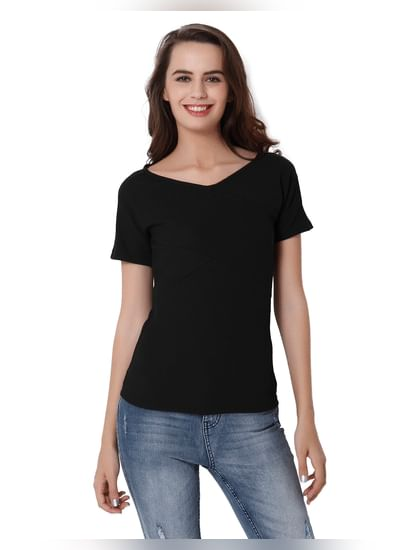 Black V- Neck Top