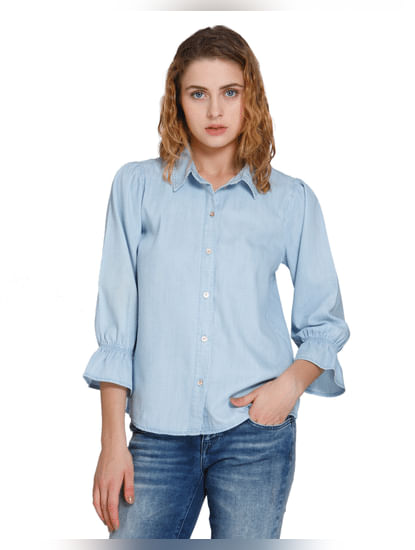 Light Blue Ruffle Sleeves Denim Shirt