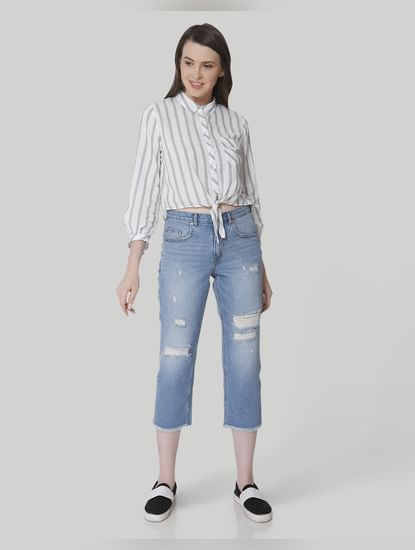Light Blue High Waist Straight Fit Cropped Jeans