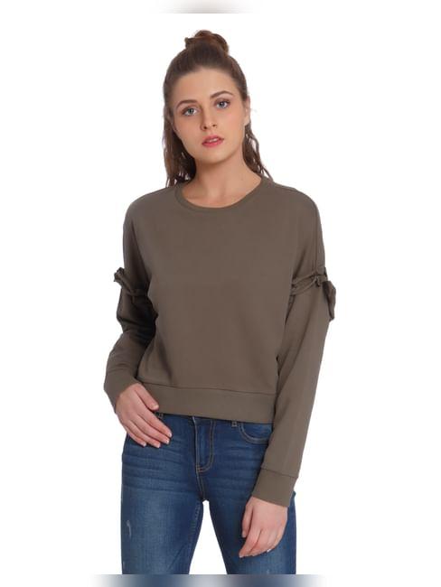 Green Frill Sleeves Sweatshirt