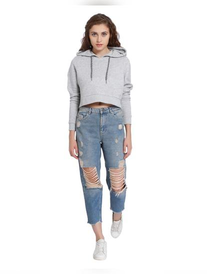 Light Grey Hooded Cropped Sweatshirt