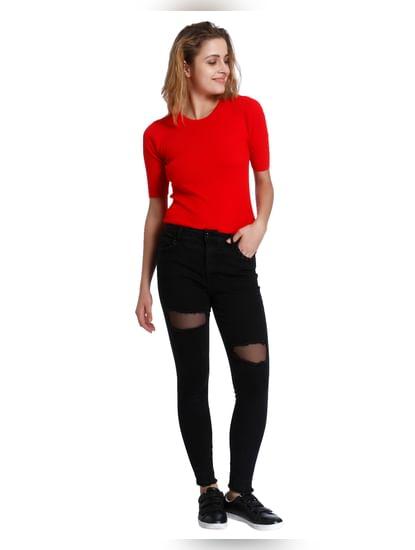 Black High Waist Skinny Fit Fishnet Detail Jeans