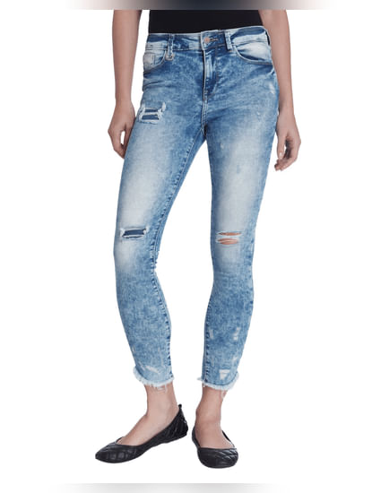 Blue Stonewashed Skinny Fit Cropped Jeans