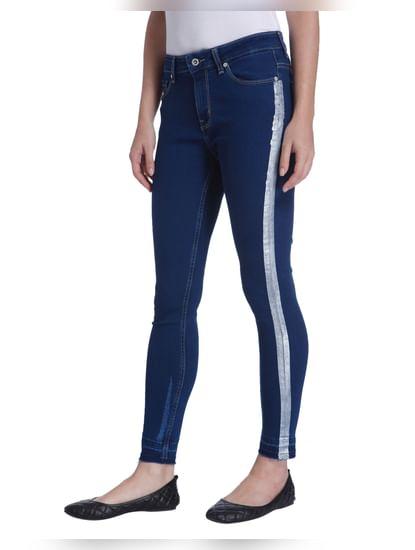 Blue Tuxedo Stripe Ankle Length Jeans