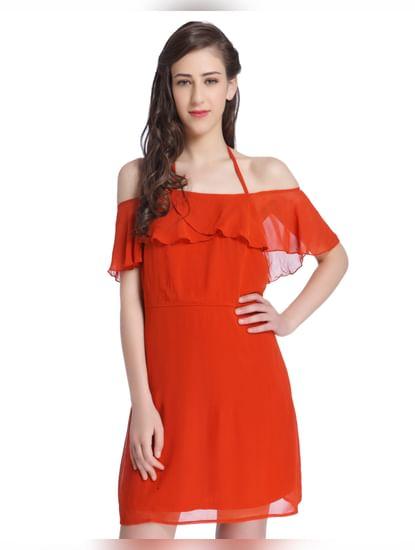 Red Halter Strap Off Shoulder Dress