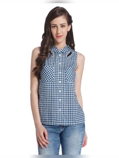 Blue Sleeveless Check Shirt
