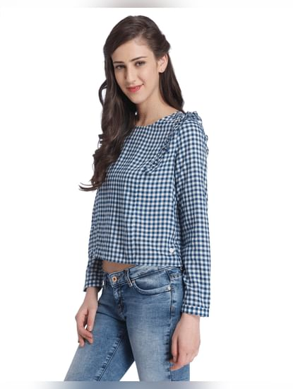 Blue Frill Detail Check Shirt