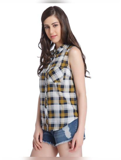 Yellow Check Sleeveless Shirt