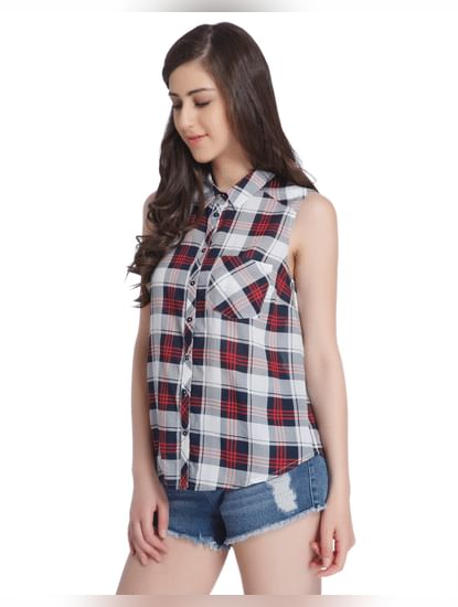 Red Check Sleeveless Shirt