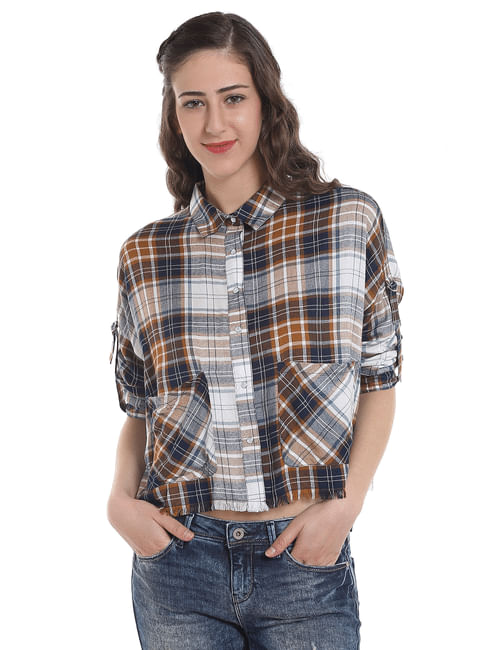 Brown Check Frayed Shirt
