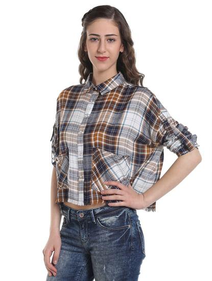 Brown Check Frayed Shirt