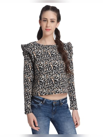 Animal Print Ruffle Detail Crop Top