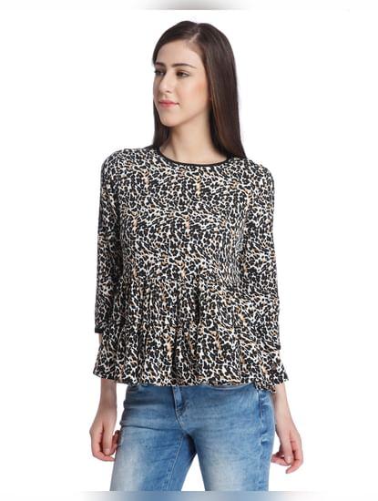 Leopard Print Peplum Top