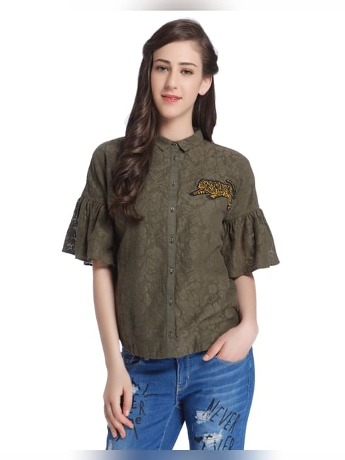Olive Green Lace Shirt