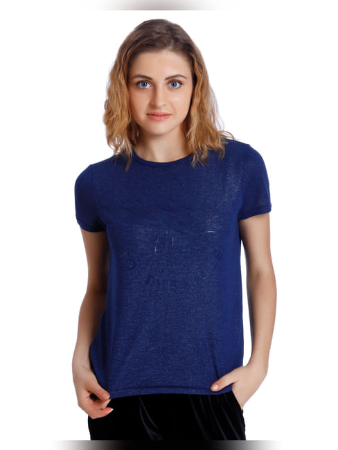Blue Shiny Graphic Print T-Shirt