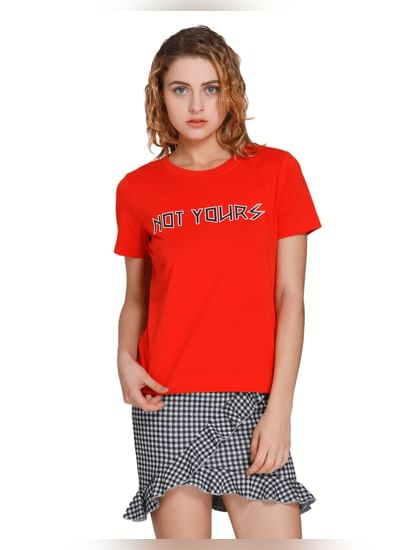 Bright Red Text Print T-Shirt