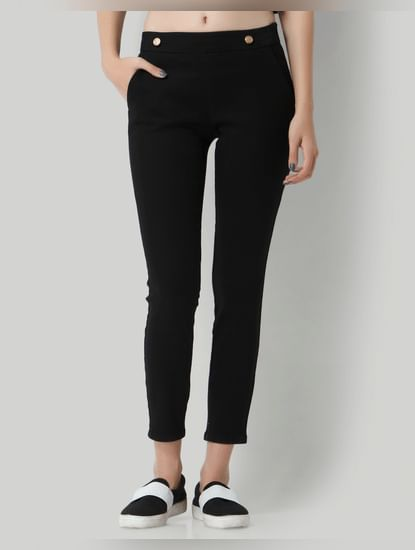 Black Button Detail Mid Rise Slim Fit Pants