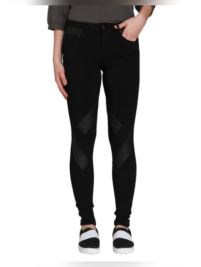 Black Mid Rise Pu Panelled Pants