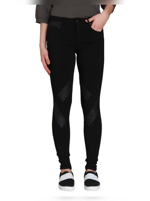 Black Mid Rise Pu Panelled Pants