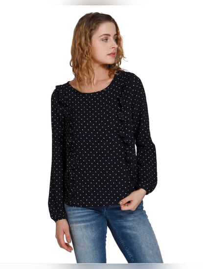 Dark Blue Polka Dotted Frill Detail Top
