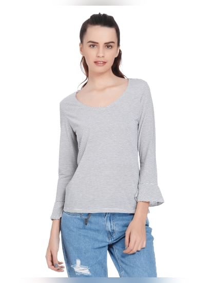 White Striped Flared Sleeved Top