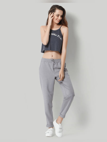 Grey Panelled Mid Rise Pants