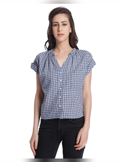 Blue Check Cap Sleeves Shirt