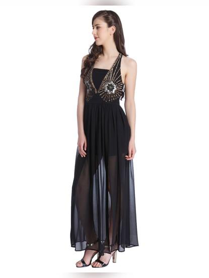 Black Embellished Maxi